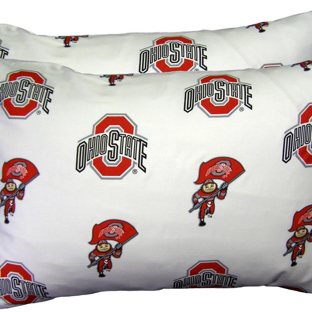 Ohio State Buckeyes Pillowcase Pair White
