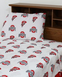 Ohio State Buckeyes Sheet Set - White by