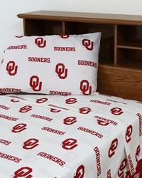Oklahoma Sooners Sheet Set - White by