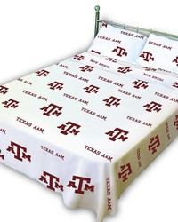 Texas AM Aggies Sheet Set - White by