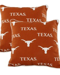 Texas Longhorns Outdoor Decorative Pillow Pair  2 16 in  x 16 in  Pillows by