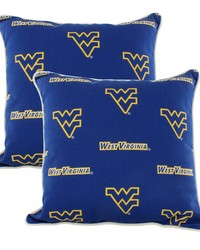 West Virginia Mountaineers Outdoor Decorative Pillow Pair  2 16 in  x 16 in  Pillows by