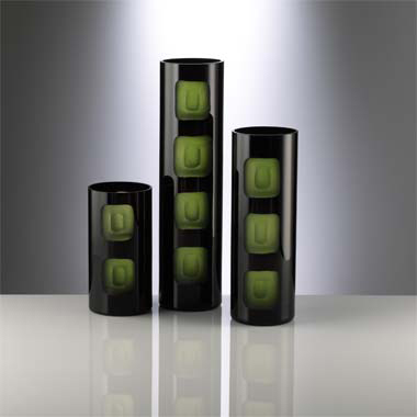 Cyan Design Black and Green Chiseled Square Vase  Contemporary Vase