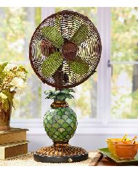 Mosaic Pineapple Table Top Fan/Lamp by