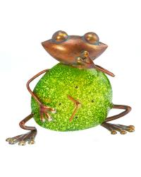 Color Stone Frog Metal Desk Clock by