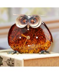 Color Stone Owl Metal Desk Clock by