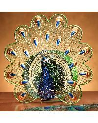 Elegant Peacock Figurine Fan by