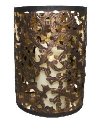 Dark Gold Cut-Out Acanthus Leaf Design Demilune Wall Sconce by