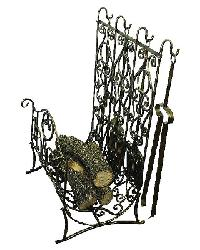 Faux Antique Brass Iron Log Holder with Tools by