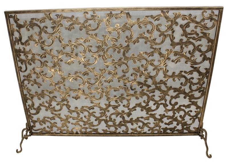 light burnished gold acanthus leaf design fire screen