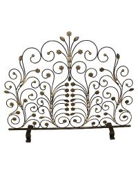 Burnished Gold Fire Screen with Light Burnished Gold Leaf and Floret Accents by