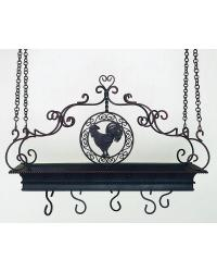 Antique Brown Iron Tole Pot Rack with Rooster Accent by