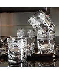 Double Old Fashioned 2 Band Drinking Glasses Set of 6 by