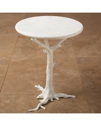White Faux Bois Side Table by