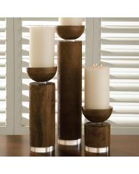 Scratched Pillar Holder Brown by