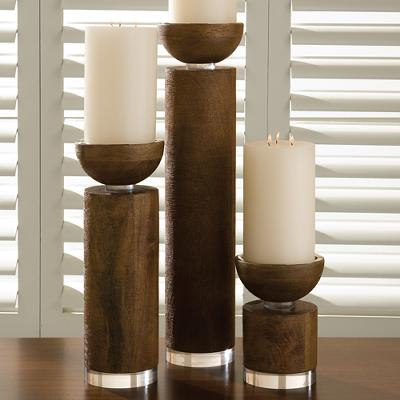 Global Views Scratched Pillar Holder Brown Candle Holders and Candelabra