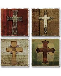 Ancient Crosses Coaster Set by