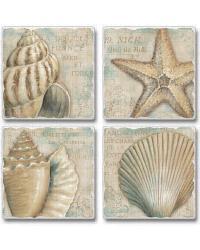 A La Plage Shells Coaster Set by