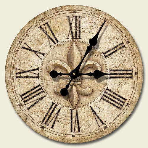 Fleur De Lis 12 Inch Wood Wall Clock