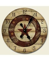 Western Rodeo Wood Wall Clock by
