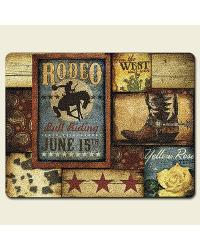 Western Rodeo Large Glass Cutting Board by