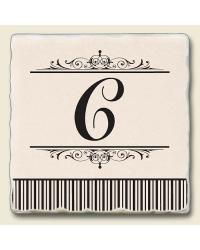 Monogram C Stone Coaster Set by