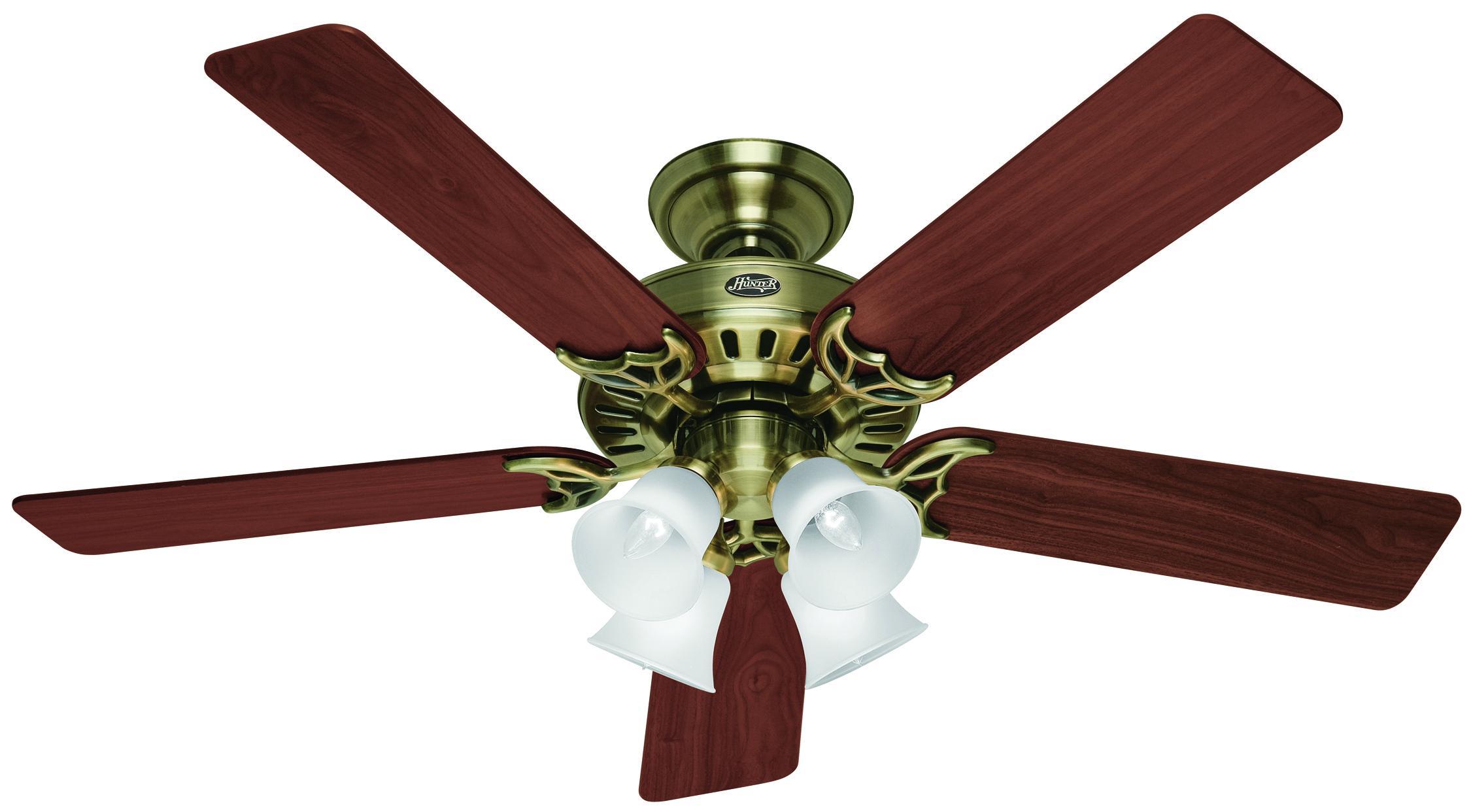 Old Ceiling Fan Parts : Studio antique brass ceiling fan hunter fans