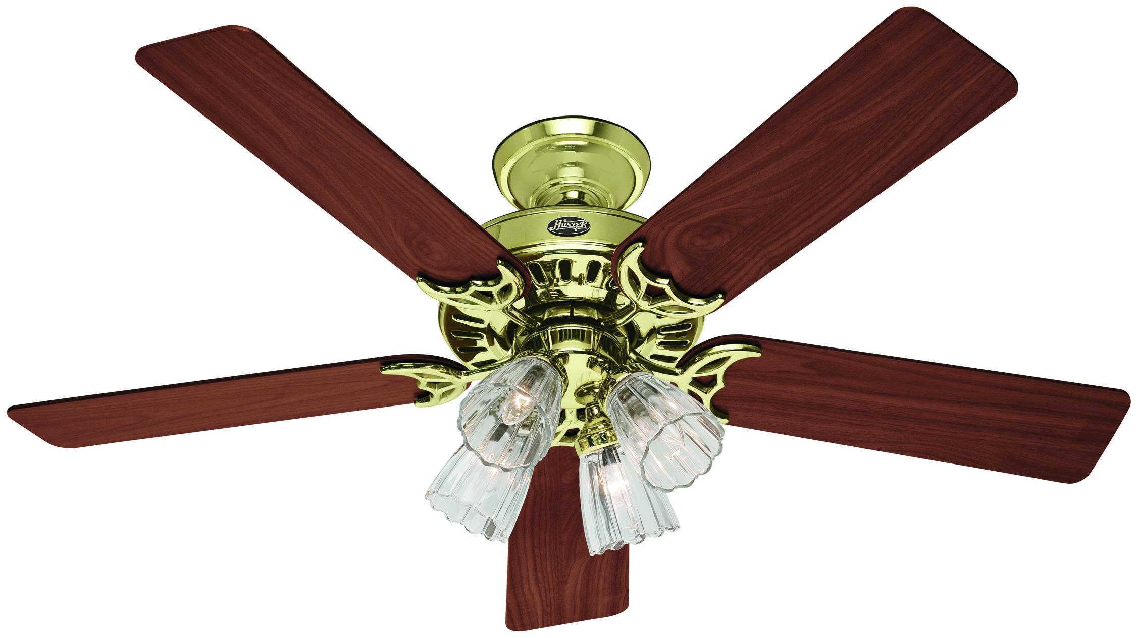 Studio hunter bright brass ceiling fan for Hunter prestige fans