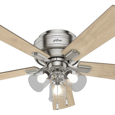 hunter ceiling fans 2018 fans Crestfield Low Profile Brushed Nickel 52in Fan 54209  657710 Hunter Fan Crestfield Low Profile Brushed Nickel