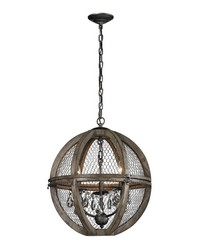 Small Renaissance Invention Wood And Wire Chandelier by