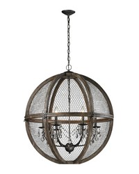 Large Renaissance Invention Wood And Wire Chandelier by