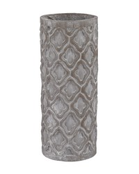 Short Antique Gray Vase With Organic Pattern by
