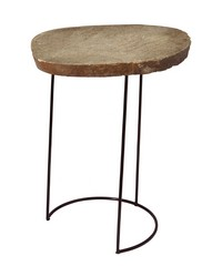 Tall Stone Slab Wire Frame Table by
