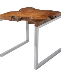 Teak Table With Angular Base by