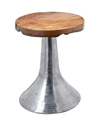 Hammered Decorative Teak Table in Silver by