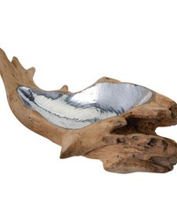 Short Teak Root Bowl With Aluminum Insert by