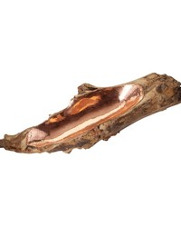 Short Teak Root Bowl With Copper Insert by