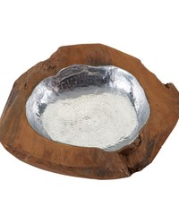 Small Round Teak Bowl With Aluminum by