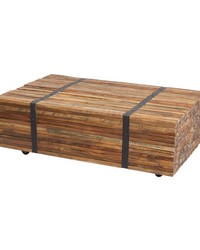 Teak Strapped Coffee Table by