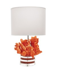 Fire Coral And Crystal Lamp With White Suede Shade by