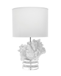 White Coral And Crystal Lamp With White Suede Shade by