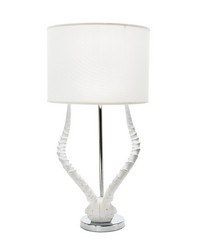 White Faux Horn Lamp With White Shade by