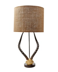 Natural Faux Horn Lamp With Burlap Shade by