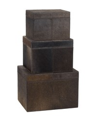 Nested Chestnut Faux Pony Boxes- Set Of 3 by