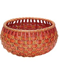 Small Fish Scale Basket In Red And Orange by