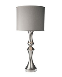 Royal German Silver Lamp With Gray Fabric Shade by