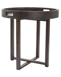 Large Round Black Teak Side Table Tray  by