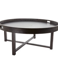 Round Black Teak Coffee Table Tray by