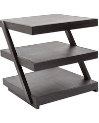 Stacked Black Teak Side Table by