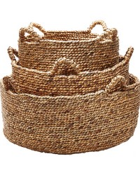 Natural Low Rise Baskets- Set Of 3 by